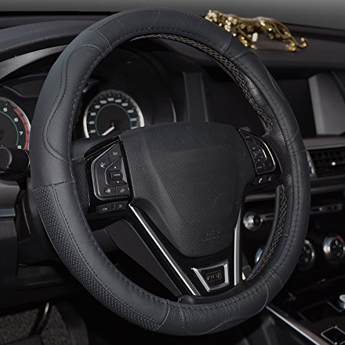 Rueesh Car Steering Wheel Cover, Genuine Leather, Sporty Curves, Durable, Thick, Anti-Slip, 15 Inch Middle Size - Black with Black Lines
