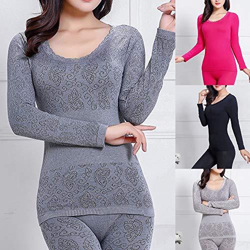 FeiyanfyQ Ropa Interior térmica, 2 Piezas de Invierno para Mujer, Cuello en O, Pantalones Largos,...