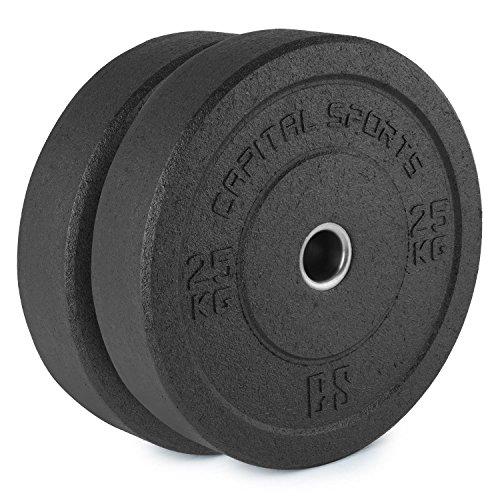 CapitalSports Renit Hi Temp Discos de Peso 50,4mm Nucleo de Aluminio Goma 2x25kg (Pareja Discos de Pesas Caucho para Barra Larga o Barra olímpica, Ideal lanzamientos sin dañar el Suelo, Resistente)