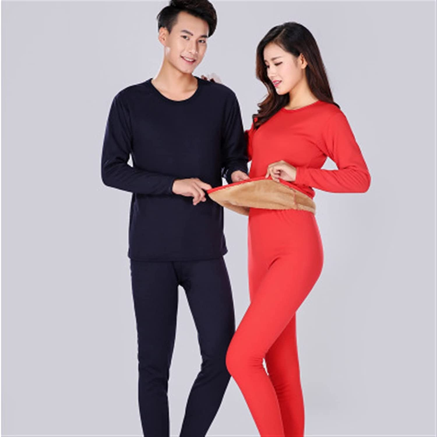 XIAOSEN Lover Thermal Underwear for Women Men Layered Clothing Pajamas (Color : Women Red, Size : XXL)