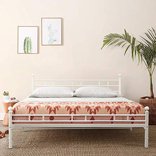 Mellow Allston - Metal Platform Bed with Built-In Slats & Headboard, Patented Bifold Easy Assembly, Queen, White