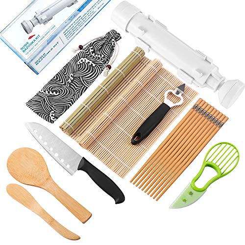 Sushi Making Kit - All In One Sushi Bazooka Maker With Sushi Knife,2 x Bamboo Mats,5 x Bamboo Chopsticks,Avocado Slicer,Paddle,Spreader, Bottle Opener, Cotton Bag - DIY Sushi Roller Machine