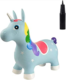 BOHS Rainbow Bouncy Unicorn for Toddler with Pump-Kids Jumping Horse Hopper- Ride on Animal Bouncer