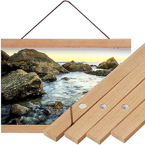 Cadre Photo Magnétique en Bois Cadre Photo Magnétique Suspension Cadres pour Photo Peinture sur Toile Affiche Cintre pour Décoration Intérieure Murale Poster DIY (40cm)