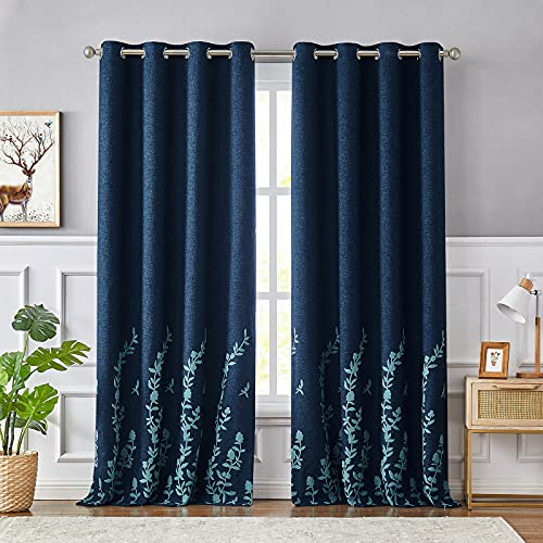 Melodieux Flower Embroidery Linen Textured Blackout Curtains for Living Room Bedroom Silver Grommet Window Drape, Navy/Blue, 52 by 84 Inch (1 Panel)