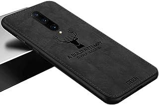 ソフトシリコンケースTPU 3D鹿プリント布パターンカバーソフトTPUエッジ耐衝撃電話ケース OnePlus 7 Pro / 1+7 Pro (7 Pro, 黒)