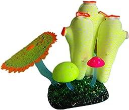 MJuan-clothing,Aquarium Artificial Grass Aquarium Accessories, Fluorescent Artificial Fish Tank Aquarium Coral Sea Anemone Plant Ornament Decor - Yellow White