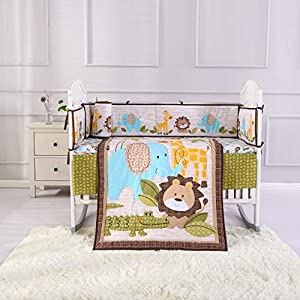 Wowelife Jungle Bedding Crib Set for Baby Lion Elephant Giraffe and Crocodile Baby Boy Crib Bedding Sets with Diaper Stacker(Brown-9 Piece)
