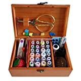 Wooden Sewing Basket with Sewing Kit Accessories,Sewing Box
