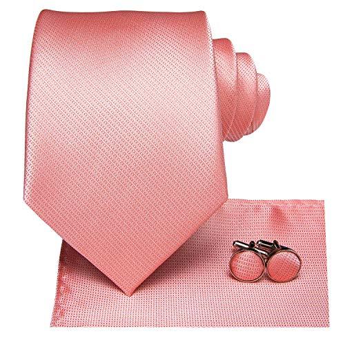 Hi-Tie Mens Wedding Necktie Pink Silk Tie with handkerchief Cufflinks