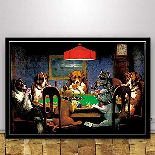 MHHDD Katzen Hunde Spielen Poker Lustige Collage Cartoon Tier Leinwand Ölgemälde Poster Drucke Kunst Wandbilder Wohnzimmer Home Decor50x70 cm No Frame
