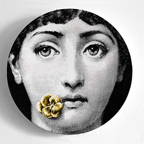 QHKYT Decoración dePlaca Placa de8 PulgadasPintura de Pared Plato Cerámica Arte Artesanal Decoración de Escritorio Diseño Creativo Clásico Elegante Adorno