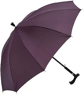 YQRYP 2-in-1 Climbing Hiking Walking Stick Crutch Windproof Anti-UV Rain Sun Umbrella Windproof Umbrella, Golf Umbrella (Color : Purple)