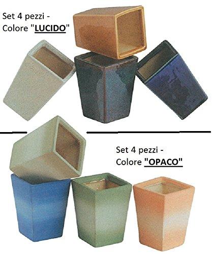 Vaso in Ceramica Quadro Rosenpot (SET 4 PEZZI) / Colore 'LUCIDO' oppure 'OPACO' (Specificare nel messaggio la scelta!)