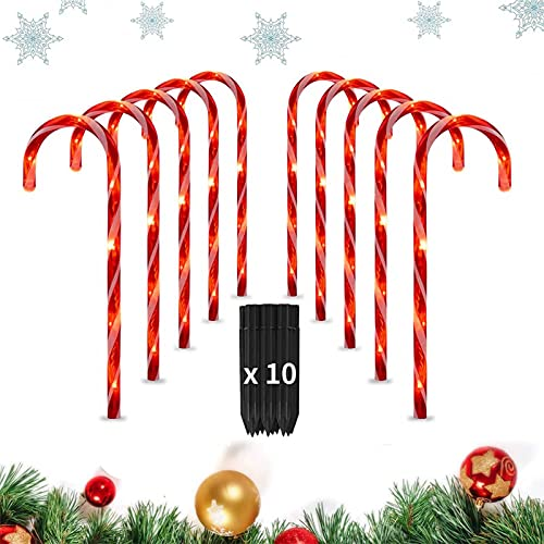 """Outdoor Christmas Decorations 18"""" Candy Cane Pathway Decorates, Holiday Walkway Lights, Christmas Season in Style, Christmas Decorations Outdoor Yard, Waterproof and Durable(2 Sets, 5pcs for Each)"""