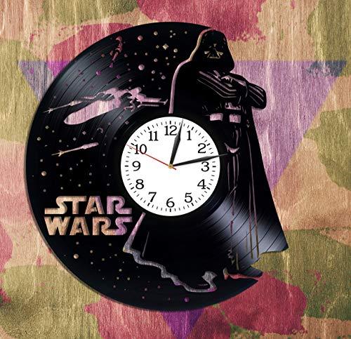 F FANTASY 'ART Star Wars Wandkunst Idee für Jungen Darth Vader Geschenk Lp Vinyl Retro Rekord Wanduhr Exklusive Todesstern Kunst Geburtstagsgeschenk für Mann Star Wars Uhr Filmkunst