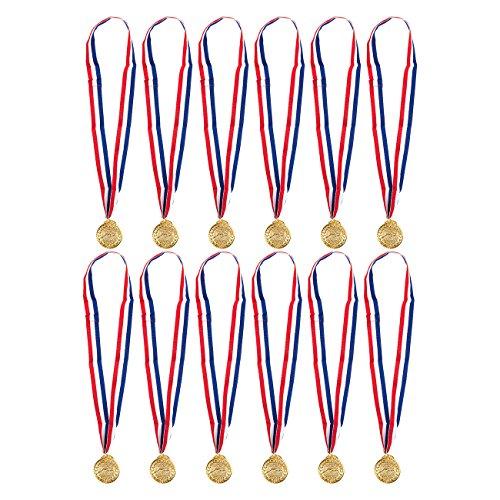 Juvale Gold Medaillen zum Schwimmen – 12er Pack Swimmer Winner Award Medaillen 5,1 cm im Durchmesser mit 76,2 cm Band