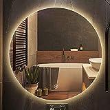 GETZ Espejo de Baño LED Redondo Antivaho Espejo de Tocador Espejo de Maquillaje para Dormitorio Espejo de Vestir con 3...