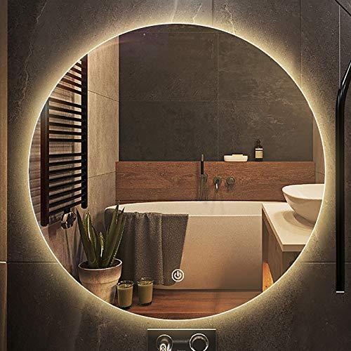 GETZ Espejo de Baño LED Redondo Antivaho Espejo de Tocador Espejo de Maquillaje para Dormitorio Espejo de Vestir con 3 Colores de Luz Sensor Táctil Brillo Ajustable, Varios Tamaños