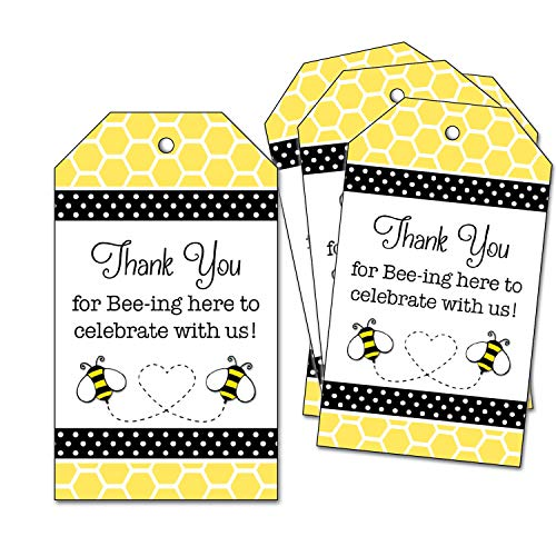 25 Bumble Bee Thank You Favor Tags - for Wedding, Bridal Shower, Baby Shower, 1st Birthday Party - Honeycomb - Thank you for Bee-ing Here