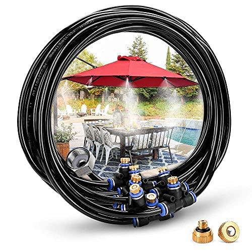 LIJIANZI Worth having - Sistema de enfriamiento de nebulización al aire libre de 8 m, 9 boquillas de neblina de latón 3/4 Adaptador de latón, Terraza Spray Kit para Patio Garden Umbrellas invernadero