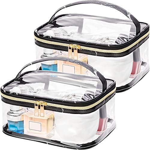 Boao 2 Pieces Portable Marble Pattern Clear Makeup Bag Gold Zipper Waterproof Transparent Travel Storage Pouch Cosmetic Toiletry Bag with Handle (Black)