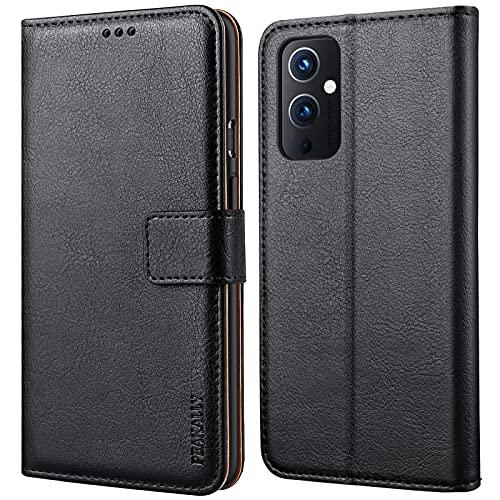 Peakally Kompatibel mit OnePlus 9 Hülle, Leder Tasche Flip Hülle [Standfunktion] [Kartenfächern] PU-Leder Schutzhülle Brieftasche Handyhülle für OnePlus 9-Schwarz