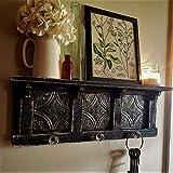 Antique Style TIN Black Wall shelf, Distressed Wall Shelf, French Country Wall Shelf, Shabby Chic Shelf, Book Shelf, Kitchen Shelf, glass knob hooks, 24'