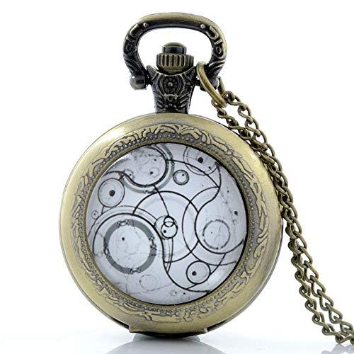 XTQDM Reloj de Bolsillo,Reloj de Bolsillo Retro Redondo de Bronce Estilo Campo Reloj Vintage con Cadena de Collar de suéter para Mujeres Hombres Bronze35mm
