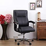 DZYN Furnitures Affarista Premium Ergonomic Big & Tall Executive Office Chair with Premium Leatherette Upholstery Best Swivel Boss Chair, Thick Padding and Soft Armrest for Home Office (Black)
