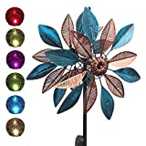 BOTINDO Solar Wind Spinner Multi-Color Lights Easy Spinning Kinetic Metal Garden Decorations with Stake for Outdoor Yard Lawn & Garden,73 Inch