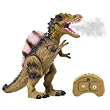 Remote Control Dinosaur Toy for Boys and Girls with Roaring Sounds and Smoking Breath, RC Spinosaurus Dino with Glowing Eyes, Walking Movement, Shaking Head
