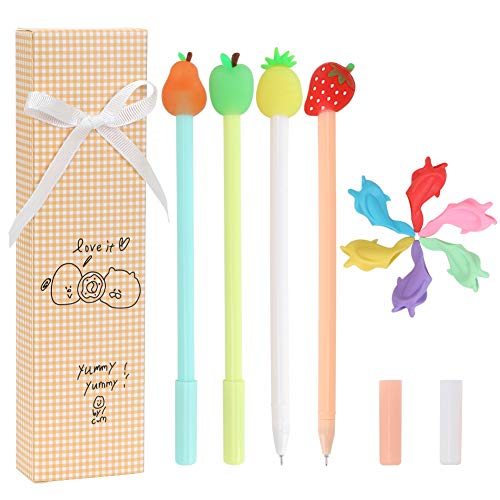 Premium Creative Cute Novelty Gel Ink Pens with Pen Grips, Richoi Fruit Gel Pens School Stationery Supplies, Black Gel Ink Pen 0.5mm Pen Refill for Office Home