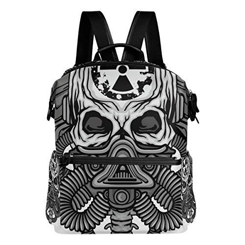 Mokale Postapocalypse-Mantel bewaffnet Schädel-Schmutz-Entwurf,Laptop Rucksack Lederband Schultasche Outdoor Travel Casual Daypack