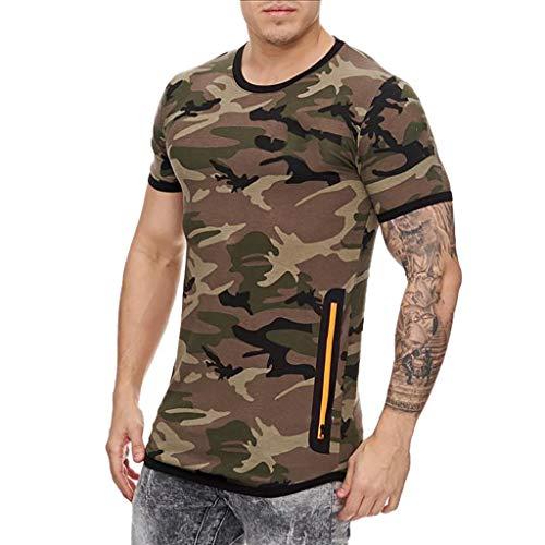 Hombres Verano Fitness Camiseta Manga Corta Sylar para Hombre Básico Cuello V Camuflaje Impreso Camisetas Moda Casual Delgada Transpirable Camiseta Deportiva Sudor Flexible Tops