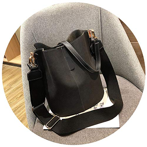 Messenger bag Women Bucket Shoulder Bag large capacity Matte PU Leather lady handbag,Black