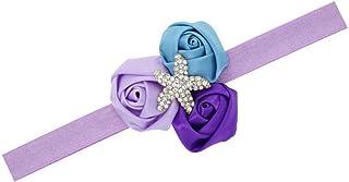 Baby Starfish Mermaid Headbands with Flower Hairband Girls Hair Accessories JB321 (3 Rose Flower)