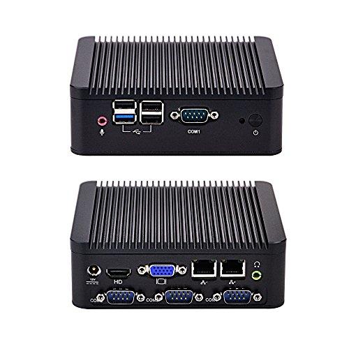 New Intel Celeron J1900 Q190P 2G ram 32G SSD Aluminum fanless Quad core Dual nic 4 Serial Ports Living Room HTPC DC 12V Mini PC