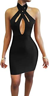 Women's Sexy Bodycon Halter Off Shoulder Hollow Out Club Mini Dress