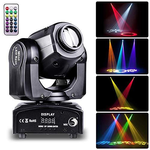 Teste Mobili, UKing 50W LED Luce di Scena con Telecomando DMX 512 Luci da Palcoscenico 8 Gobo 8 Colori per DJ Discoteca Club Band Spettacoli