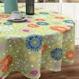 Spectacular Festive Flowering Fireworks Printed Easy-Care Fabric Table Linen (70' Round Tablecloth, Green)