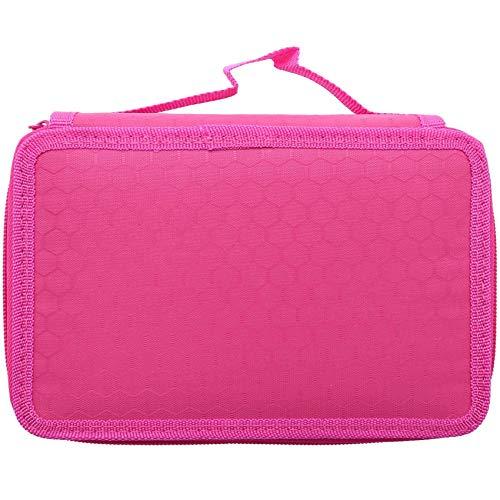 Camisin Estuche de 72 agujeros de 4 capas para estudiantes de escuela Oxford bolsa marcador de almacenamiento lápices de colores pluma suministros escolares rosa rojo