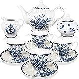 BTäT - Tea Set, China Tea Set, Tea Service, Tea Cups (8oz), Creamer and Sugar Set, Tea Cups and...