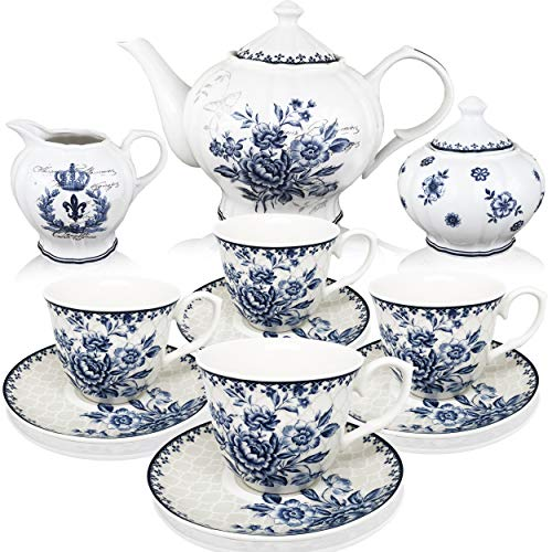 english tea set for adults BTäT - Tea Set, China Tea Set, Tea Service, Tea Cups (8oz), Creamer and Sugar Set, Tea Cups and Saucer Set, Tea Pot, Tea Set for Adults, Tea Cups Set of 4, Blue Dream Tea Set, Porcelain Tea Set, Cups