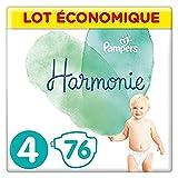 Pampers Couches Harmonie Taille 4 (9-14kg) 0% de compromis, 100% d'absorption, Ingrédients d'origine végétale, Hypoallergéniques, 76 Couches (Lot économique)