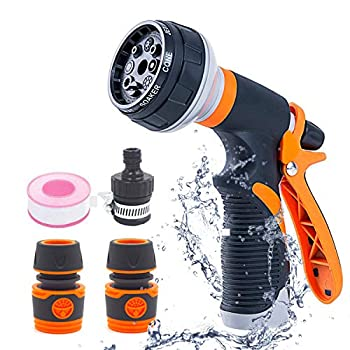 SUDESMO Garden Hose Nozzle High Pressure Garden Hose Sprayer with 8 Adjustable Patterns Hose Nozzle for Plant Washing Car and Showering Pet Orange
