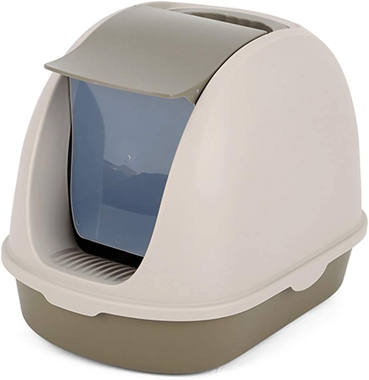 Portable Cat Litter Box Hooded Large Space Toilet with Handle and Bucket Easy to Clean, Deodorant and SpillProof Design (color   Coffee)