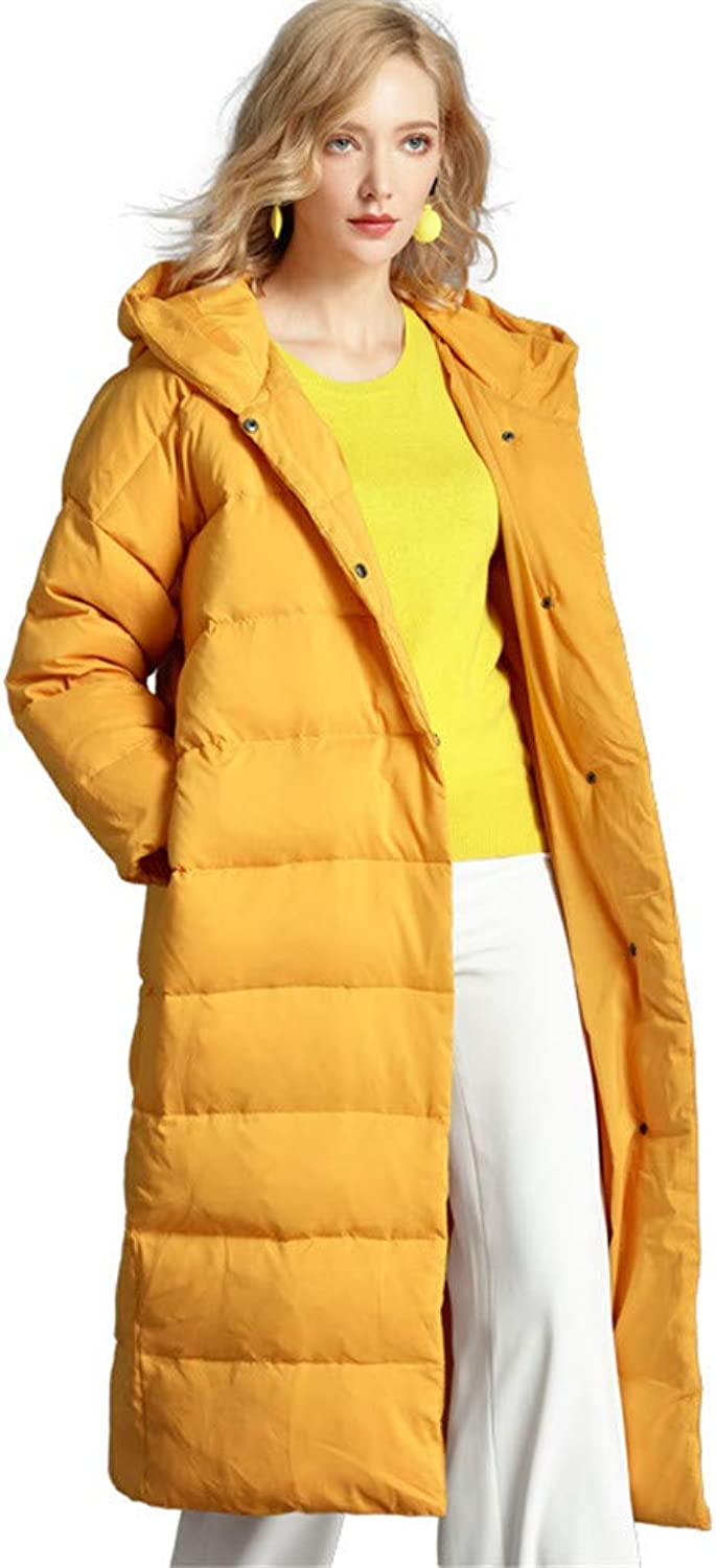 Women's Long Down Jacket with Hood Maxi Down Parka Puffer Jacket (Yellow)