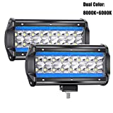 "YUGUANG 7"" Pair CREE LED Projecteur Pure blanc 6000K+8000K Ice Bleu 240W 24000LM 9-30V LED Barre OFF-ROAD Phare Travail Spot Lumineuse Flood Feux Antibrouillard Camion Tracteur SUV Bateau Harvester"