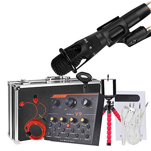 Alfun Mesa de Mezclas Microfono Condensador Kit USB Mesa Sonido V9 Mezclador Mixer Sonido